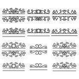 Hand drawn dividers. Split frames. Text divider. Mailbox monogram. Vintage line borders Stock Illustration