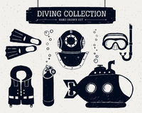 Hand drawn diving collection of elements. Royalty Free Stock Photo