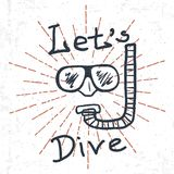 Hand Drawn Diving Mask with snorkel and lettering Lets Dive. Vector. Illustration Royalty Free Stock Photos