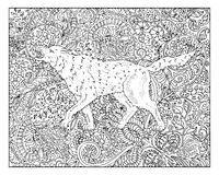 Hand drawn dog against floral pattern background Royalty Free Stock Photography