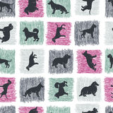 Hand drawn dog breeds silhouettes  seamless pattern Stock Photos