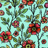 Hand drawn dog-rose seamless pattern Stock Images