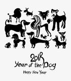 Hand drawn Dogs 2018. Art postcard. New Year on the Chinese calendar. Ink doodle doggies stock illustration