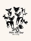 Hand drawn Dogs 2018. Art postcard. New Year on the Chinese calendar. Ink doodle doggies Stock Image