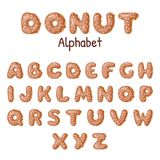 Hand drawn Donut alphabet. Donuts letters glazed by caramel. Vector template for your design Stock Photo