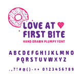 Hand drawn donut font. stock illustration