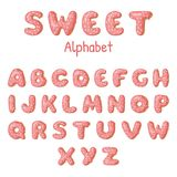 Hand drawn Donut letters. Pink Donuts ABC. Fun Alphabet. Vector template for your design Stock Image