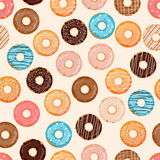 Hand drawn donut seamless pattern. Pastry illustration. Vector bakery background design. Sweets theme.  royalty free illustration