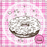 Hand Drawn Donut. Vector Illustration. Royalty Free Stock Photography