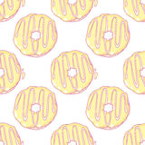Hand drawn donuts seamless pattern. Sweet Stock Photo