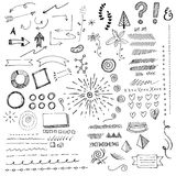 Hand Drawn Doodads, Sketches And Elements. Arrow, swirls, tree, flower, question mark, exclamation point, tally, ribbon, pie chart, and border elements vector illustration