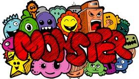 Hand-drawn doodle κινούμενων σχεδίων τεράτων Στοκ φωτογραφίες με δικαίωμα ελεύθερης χρήσης