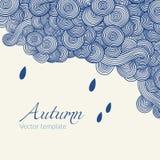 Hand-drawn doodle κυμάτων Διανυσματικό κυματιστό υπόβαθρο με τις σταγόνες βροχής λαστιχένια ομπρέλα θέματος αδιάβροχων μποτών φθι Στοκ Φωτογραφία
