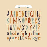 Hand drawn doodle abc, vector illustration. Hand-drawn vector alphabet. Funny cartoon styled font Royalty Free Stock Photography