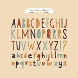 Hand drawn doodle abc, vector illustration. Hand-drawn vector alphabet. Funny cartoon styled font royalty free illustration