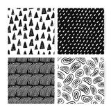Hand drawn doodle abstract seamless pattern set. Collection of black and white backgrounds with different freehand. Shapes vector illustration