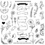 Hand Drawn Doodle Ampersands, Curves, Book Corners Royalty Free Stock Image