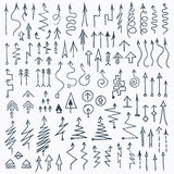 Hand Drawn Doodle Arrows Set. Set of hand drawn arrows and pointers doodle elements. Optimized for one click color changes. EPS8 vector illustration Royalty Free Stock Photos