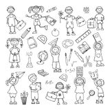 Hand drawn doodle. Back to school. icons set Stock Images