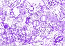 Hand drawn doodle backdrop pattern with numerous different women things