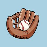 Hand drawn doodle of baseball glove holding a ball. Cartoon style drawing, for posters, decoration and print. Vector illustration royalty free illustration