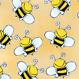 Hand drawn doodle bee pattern Stock Photo