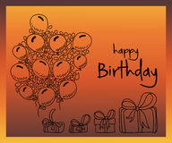 Hand drawn doodle birthday party elements with balloons and gift boxes on bright background Royalty Free Stock Photo
