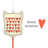 Hand drawn doodle blood donation background Stock Images