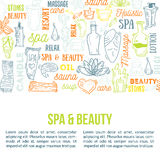 Hand drawn doodle body massage and Spa icon set with relaxing symbols, skin care elements, cream Lotion Royalty Free Stock Photography