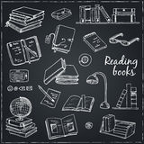Hand drawn doodle Books Reading set. Royalty Free Stock Photography