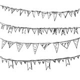 Hand drawn doodle bunting flags set. Stock Images