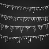 Hand drawn doodle bunting flags set. Royalty Free Stock Photography
