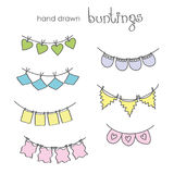 Hand drawn doodle bunting flags set Stock Image
