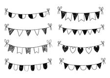 Hand drawn doodle buntings Stock Photo