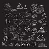 Hand drawn doodle business finance analytics earnings elements. Hand drawn doodle business finance analytics earnings elements on dark background. Accounting Stock Photo