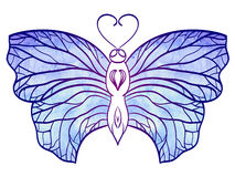 Hand-drawn doodle  butterfly with blue watercolor wings for your Stock Image