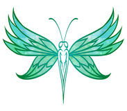 Hand-drawn doodle  butterfly with turquoise watercolor wings for Stock Photos