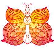 Hand-drawn doodle  butterfly with yellow  watercolor wings for y Royalty Free Stock Photos