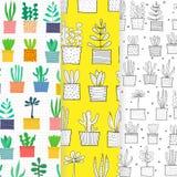 Hand Drawn Doodle Cactus Vector Set. stock photos