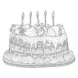 Cake for coloring book. Hand drawn doodle cake for coloring book for adults. Zentangle style Stock Images