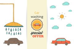 Hand drawn doodle car washing banner Stock Photos