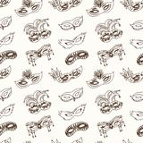 Hand drawn doodle carnival masks seamless pattern. Vector illustration. Symbol collection Royalty Free Stock Photos