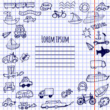 Hand-drawn doodle cars, bicycles and ships vector Stock Photos