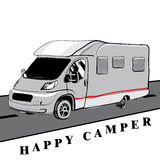 Hand drawn Doodle cars Recreational Vehicles Camper Vans Caravan Stock Photography