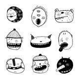 Hand drawn Doodle Cartoon Strange Faces with Teeth Fun Set Stock Photo