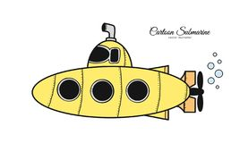 Hand drawn doodle cartoon yellow submarine on white background. Vector illustration: Hand drawn doodle cartoon yellow submarine on white background royalty free illustration