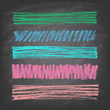 Hand-drawn doodle chalk banners on blackboard. Stock Photos