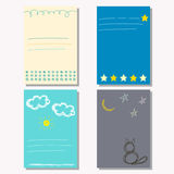 Hand drawn doodle childish backgrounds collection with simple shapes Stock Image