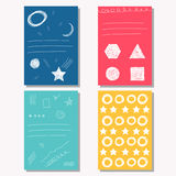 Hand drawn doodle childish bright backgrounds collection Royalty Free Stock Image