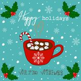 Hand Drawn Doodle Christmas Card. Red Mug with Hot Chocolate Cocoa Marshmallows Candy Cane Stick White Snowflakes Blue Background. Hand Drawn Doodle Christmas Royalty Free Stock Photos